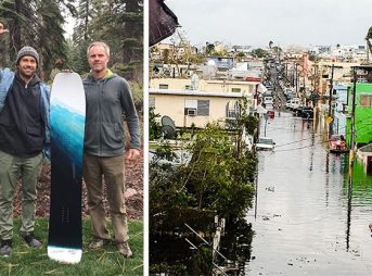 A snowboard that's only been ridden by three people is being auctioned Caribbean relief.