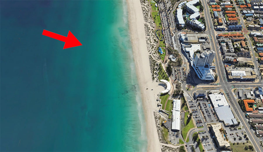 The approximate area that developers think would be the best for the reef, about 700 feet north of the Scarborough Amphitheater. Image: Google Maps