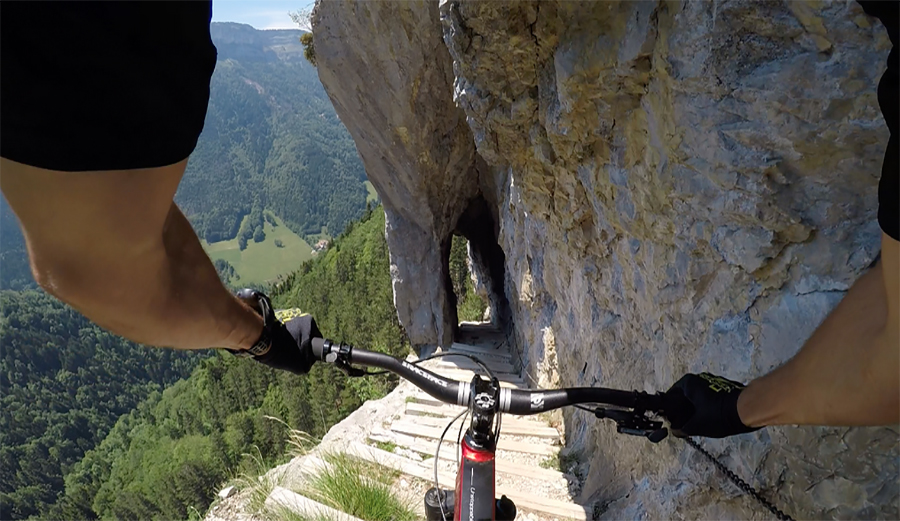 Watch mountain biker kilian bron ride this insane line in france the inertia for Mountain watches