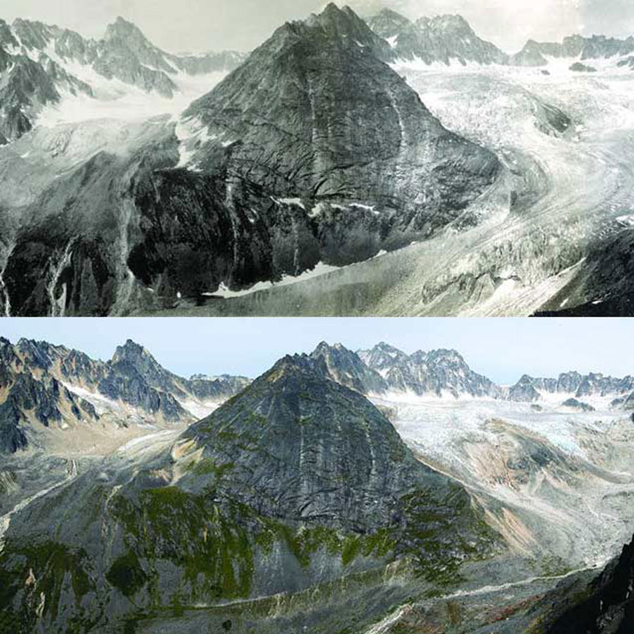 Hidden Creek Glacier, Alaska, photographed in 1916 and 2004, with noticeable ice loss.