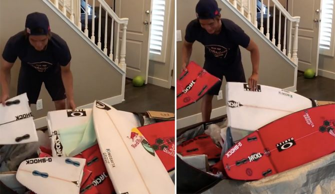 Kanoa Igarashi turned up at home with a bag full of broken boards. He had a good sense of humor about it, but the whole thing begs the question: should airlines be liable for such negligence? Photo: Instagram