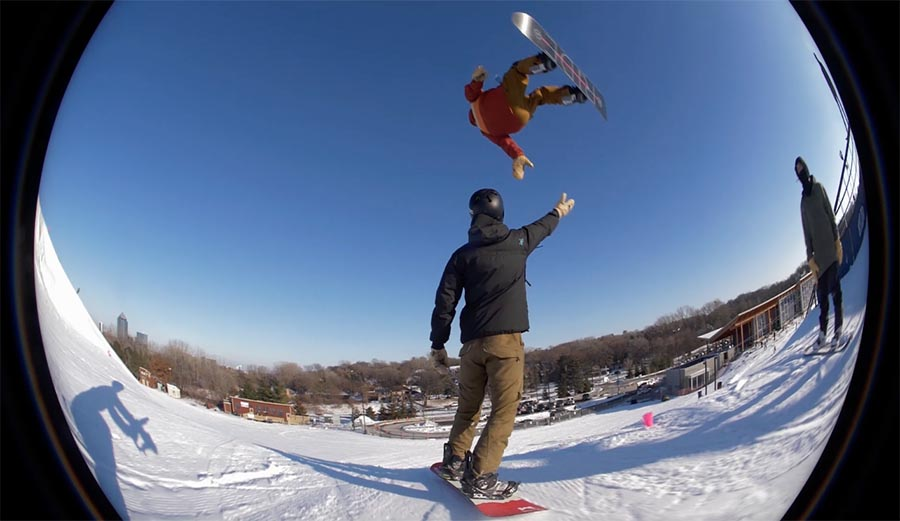 The Best High Five You've Ever Seen on a Snowboard in 7 Seconds