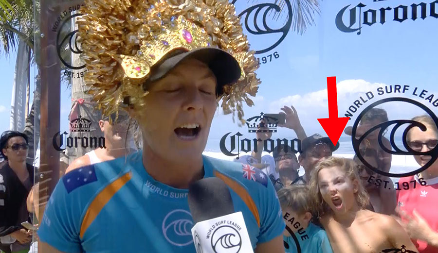 A Hilarious Grom Behind Stephanie Gilmore's Post-Heat Interview Totally Stole the Show