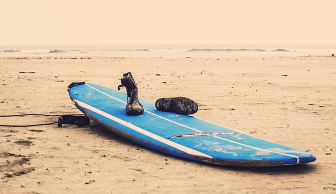 Foamtop softop surfboard and booties