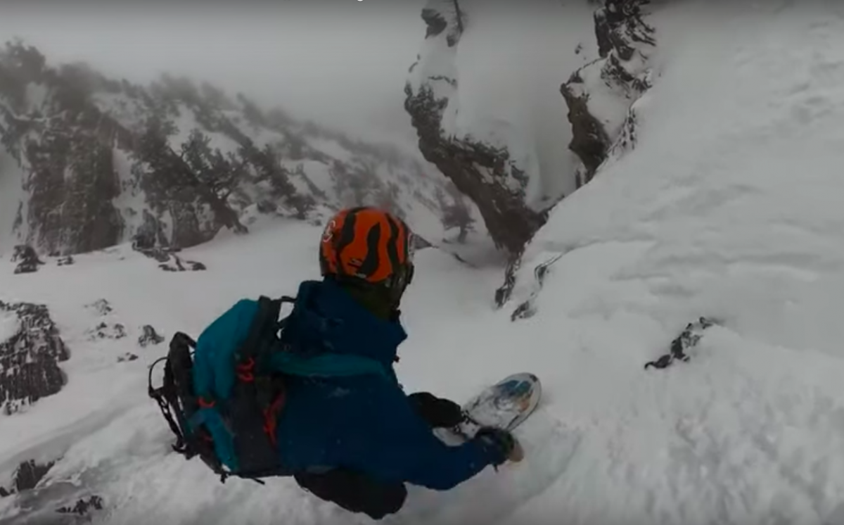 This Snowboarder's Line in the Utah Backcountry Is Definitely Anxiety Inducing