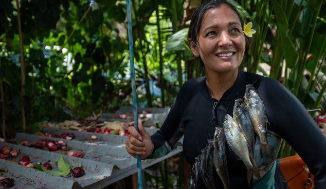 Kimi Werner Spearfisherwoman with her catch