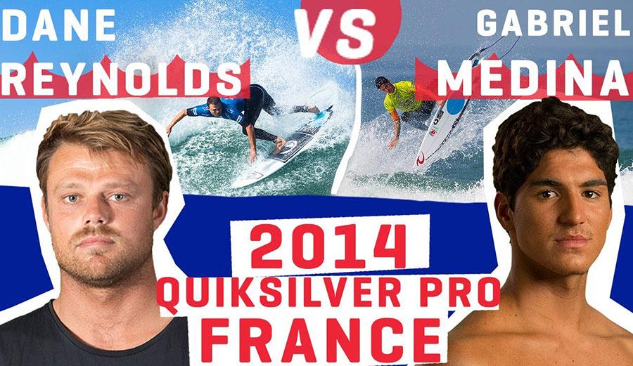 Watch Dane Reynolds vs. Gabriel Medina at the 2014 Quik Pro France