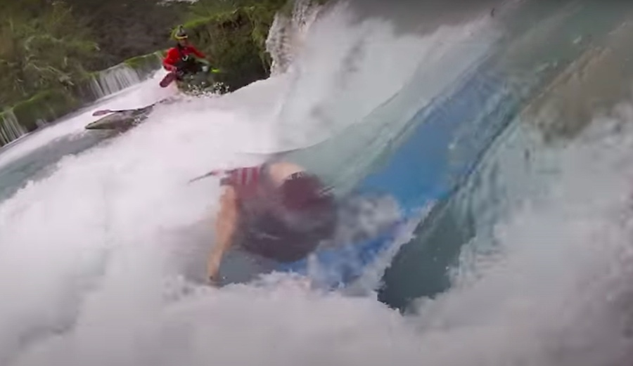 Kayaker Getting Vertically Pinned in Waterfall Is Whitewater's Worst-Case Scenario