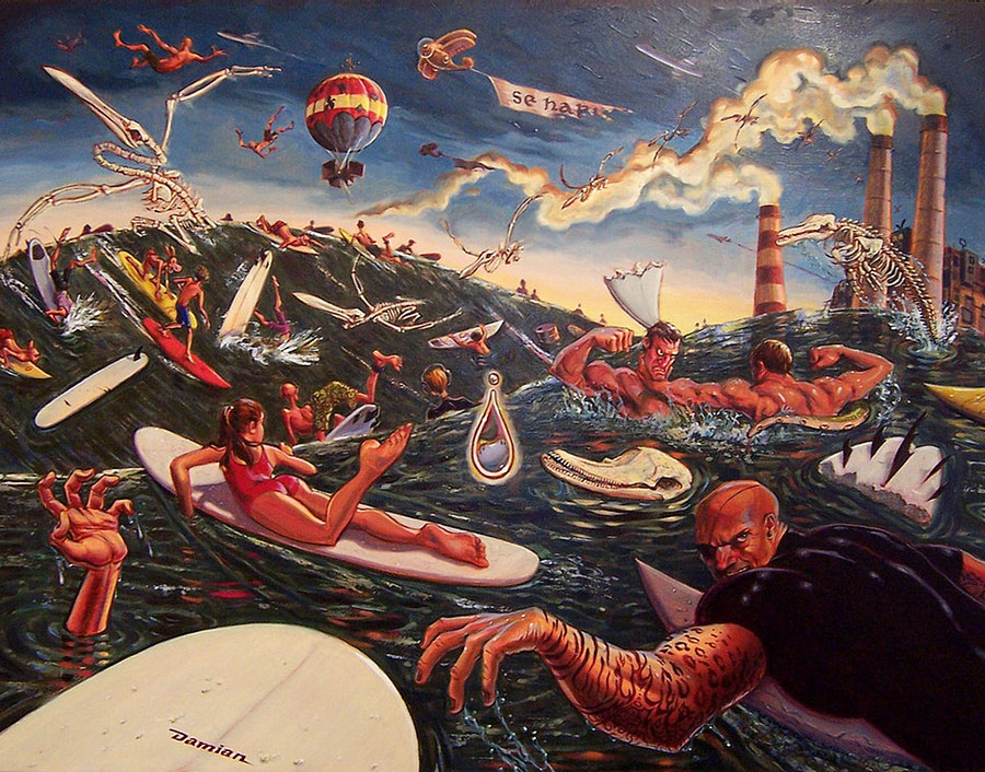 Cacophony in Sea Minor surf art Damian fulton surf artists
