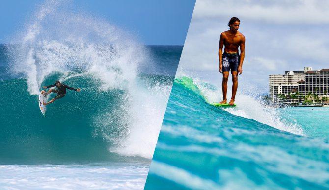 longboard surfer shortboard