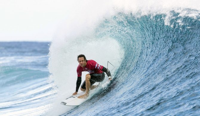 Jordy Smith in a barrel at Pipeline