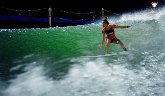 Tia Blanco Surfing on her backhand at the Surf Ranch Ultimate Surfer