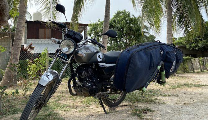 dirtbag surf bag on a motorcycle