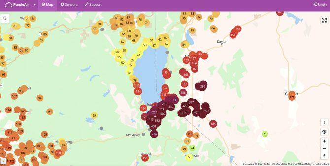 purpleair screenshot south lake tahoe