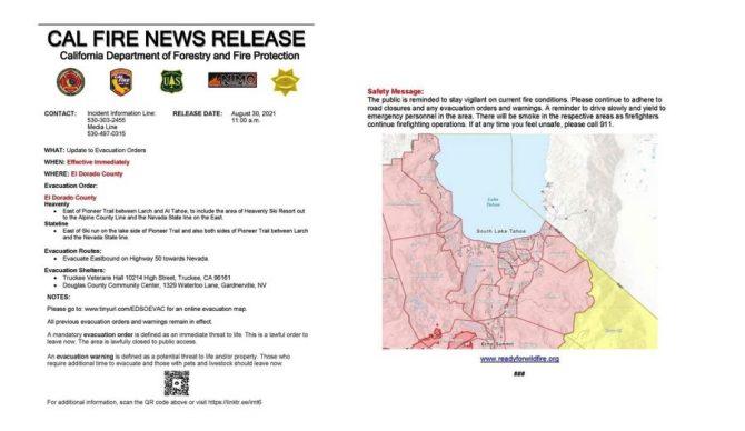 caldor fire news release
