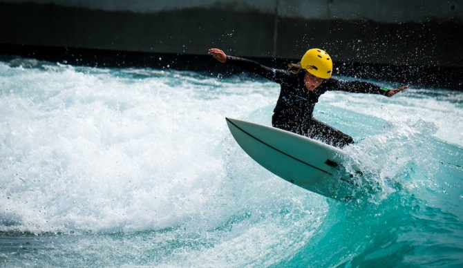 grom with a helmet at The Wave in Bristol