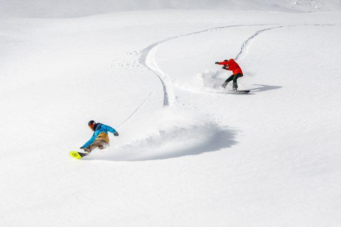 Snowboarding deep powder at Squaw Valley