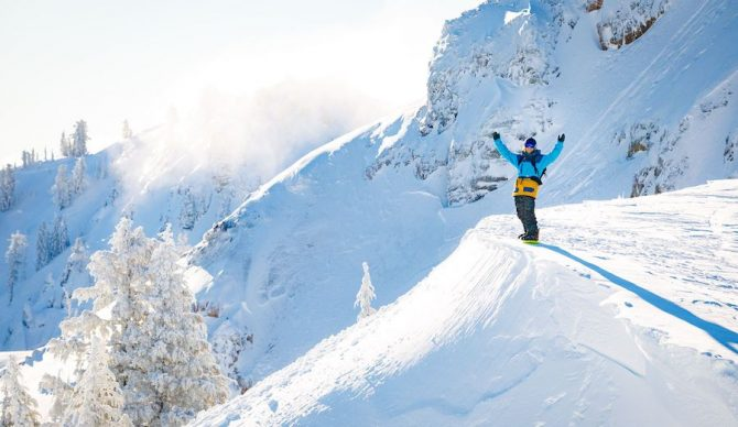 Hiking and aspirational lifestyles on a beautiful powder morning at Alpine Meadows