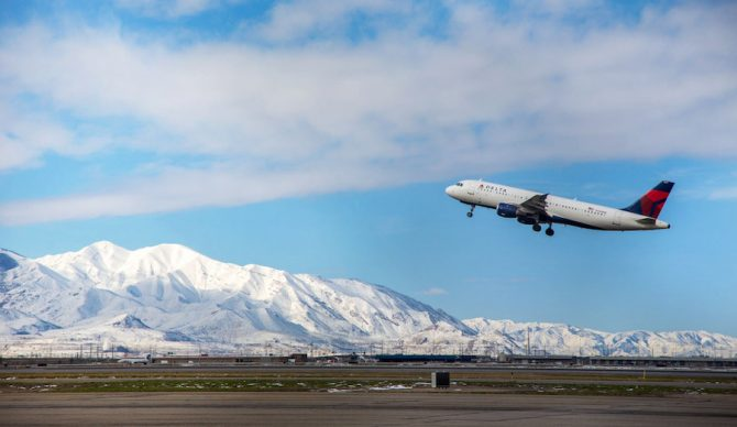 Salt Lake International Airport with mountains in background