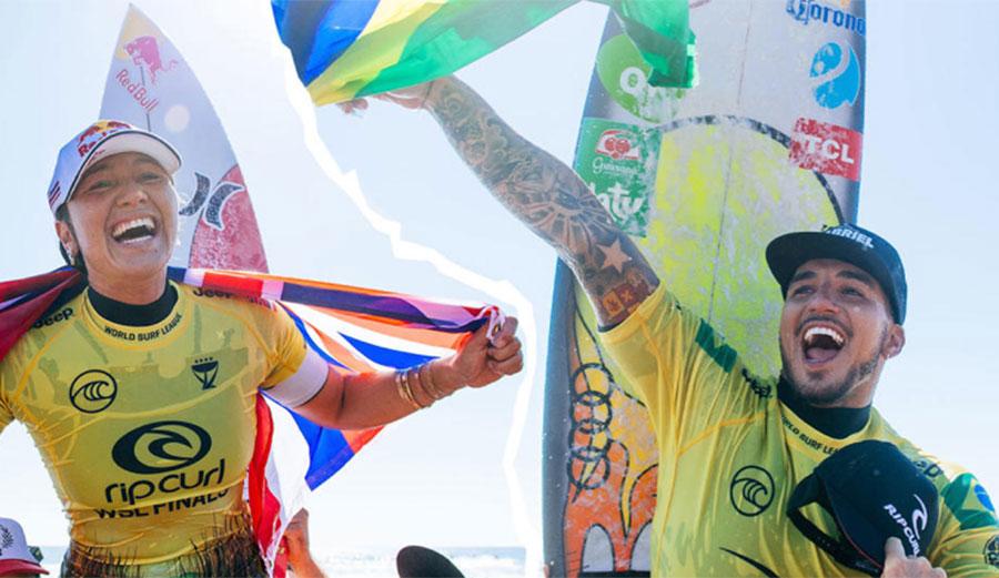 Surfing world champions Gabriel Medina and Carissa Moore