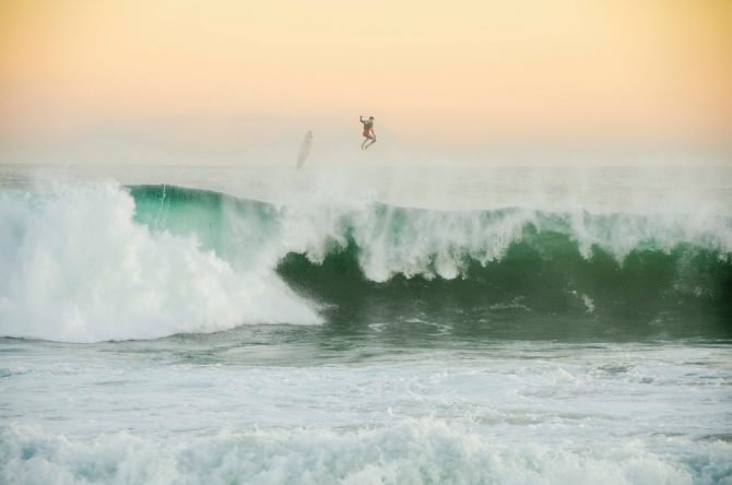 kicking out on a powerful wave